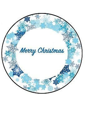 £2.99 • Buy Edible Decor Icing Sheet Merry Christmas Blue Snowflake In Circle For 7-8  Cake