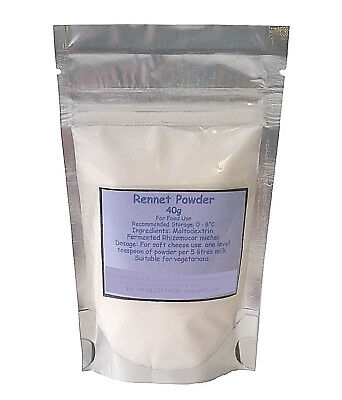 Vegetarian Rennet Powder 40g - Suitable For Vegetarians - Free Postage • 9.30£