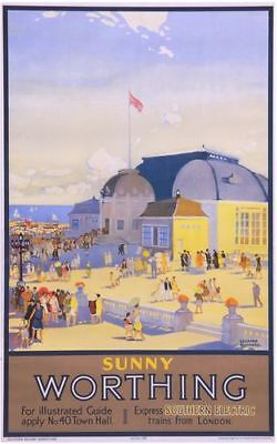 £5.13 • Buy Vintage Southern Sunny Worthing Railway Poster A4/A3/A2/A1 Print