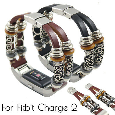 AU16.99 • Buy Replacement Leather Bead Wristband Band Strap Bracelet For Fitbit Charge 2 K