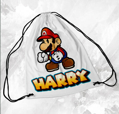 Personalised Drawstring Bag Any Name Mario Swimming School Nursery PE  • 7.49£