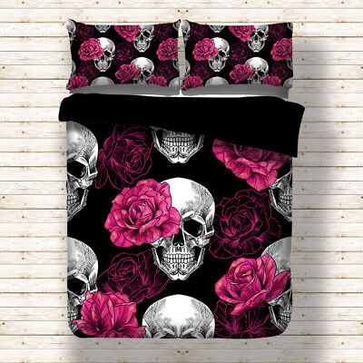 Gothic Skull Rose Duvet Cover Bedding Set Single Double King Sizes Pillow Cases • 24.99£