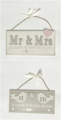 Wooden Mr & Mrs Love Birds Hanging Plaques With Verse Wedding Day Gift Love  • 4.99£