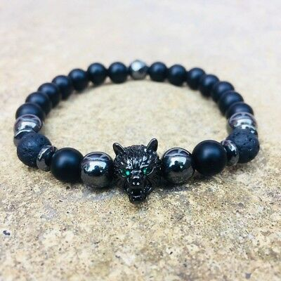 Wolf Black Beaded Elastic Bracelet Lava Rock Silver Hematite Natural Gemstonones • 8£