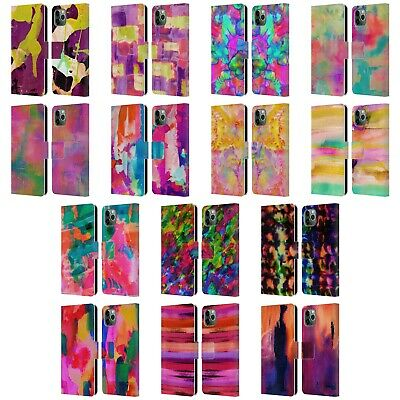 OFFICIAL AMY SIA ABSTRACT COLOURS LEATHER BOOK CASE FOR APPLE IPHONE PHONES • 12.95£