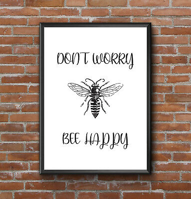 Inspirational Motivational Fun Bee Happy Typography Quote  A4 Poster Print Wall • 3.79£
