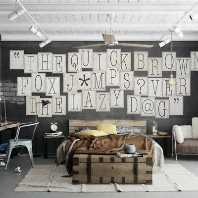 1Wall Typography Letters 64 Piece Collage Wall Paper Mural Creative Design Home  • 11.99£