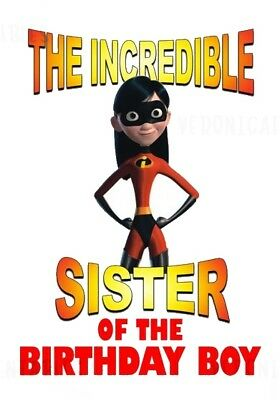 :::the Incredibles Sister Of The Birthday Boy:::fabric/t-shirt Iron On Transfer • 2.15£