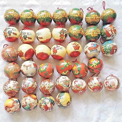 $ CDN74.99 • Buy Vintage Foam Decoupage Christmas Ornaments Red Green Holiday Balls - Lot Of 38