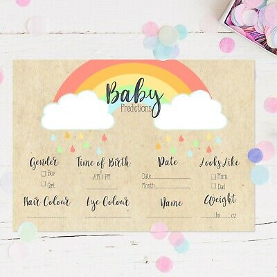 Baby Shower Games Prediction Cards Rainbow Design New Mum To Be Baby Boy Girl • 2.50£
