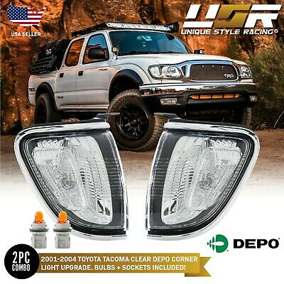 $68.96 • Buy DEPO Chrome Trim Clear Front Corner Lights Lamps For 01 02 03 04 Toyota Tacoma