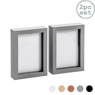 Box Picture Frame Deep 3D Photo Display 5x7 Inch Standing Hanging Grey X2 • 10.99£