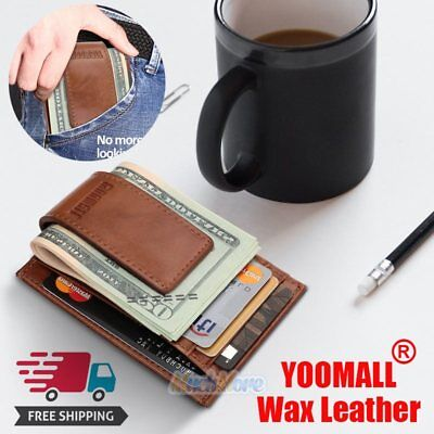 $11.75 • Buy  Mens Wax Leather Money Clip Magnet Front Pocket Wallet Slim ID Card Case NEW