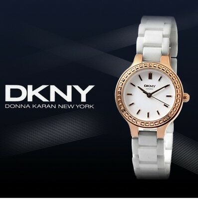 DKNY CHAMBERS Women's White Ceramic Stainless Steel Case Watch NY2251 • 70£