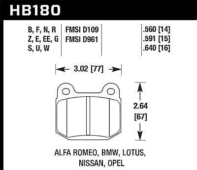 $ CDN128.40 • Buy Disc Brake Pad Set-Base Rear,Front Hawk Perf HB180F.560