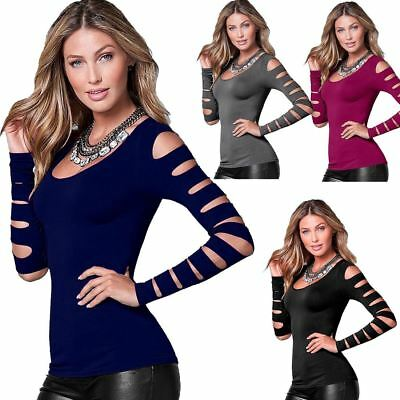 Ladies Long Sleeve Cut Out Top Womens Casual Scoop Neck Fancy Dress T Shirt Tee • 6.98£