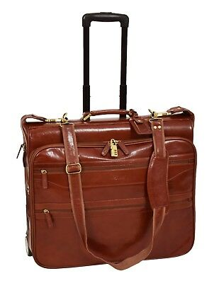 Real Leather Suit Carrier With Wheels Travel Weekend Garment Bag HOL13 Cognac • 299£