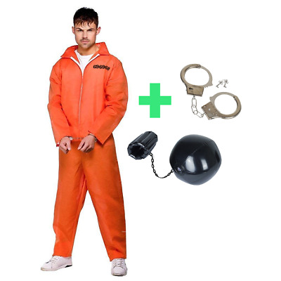 Mens Prisoner Orange Jumpsuit Halloween Fancy Dress Overalls Costume Outfit • 2.99£