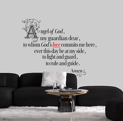 Guardian ANGEL Catholic,Christian,prayer Wall Art Vinyl Decal Sticker Home Decor • 11.99£
