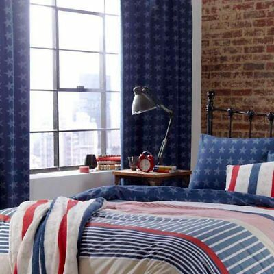 Catherine Lansfield Stars And Stripes Tab Top Lined Curtains, Multi, 66x72 Inch • 33.49£