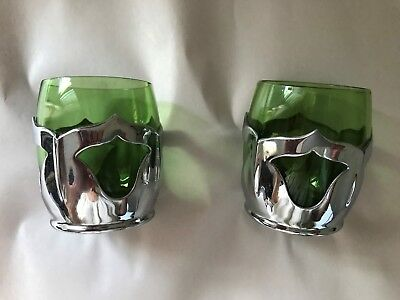 $30 • Buy Deco ~ Farber Bros / Cambridge Glass ~ Set Of 2 Emerald Cordials ~ Signed ~ EUC
