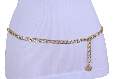 Women Gold Metal Chain Skinny Edgy Fashion Adorable Belt Coin Charm Size M L XL • 25.10£