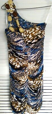 AU75 • Buy Y-London, S, Blue & Brown Coloured, Animal Print, Single Shoulder Dress