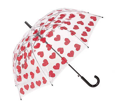 AU29.95 • Buy Clifton Auto Open PVC Clear Dome Red Hearts Umbrella
