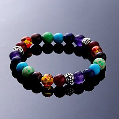 AU4.91 • Buy 7 Chakra Healing Beaded Bracelet Natural Lava Stone Diffuser Stretch Jewellery