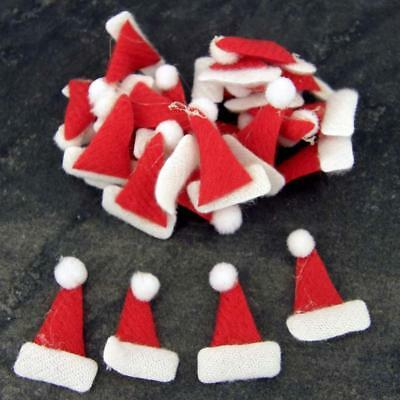 Santa Hats For Cards & Decorations, Ideal For Kids Craft, Xmas, Pk Of 20 Fabric • 2.50£