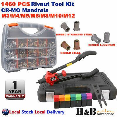 AU118.44 • Buy 1460 Pcs Nut Rivet Riveter Rivnut Tool Nutsert Gun Riveting Kit M3-M12 Cr-Mo