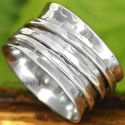 $10.80 • Buy Solid 925 Sterling Silver Wide Band Spinner Ring Meditation Statement Ring GS69