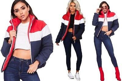 Colour Block Jacket Quilted Padded Contrast Puffer Warm Thick Ladies Coat Womens • 14.99£