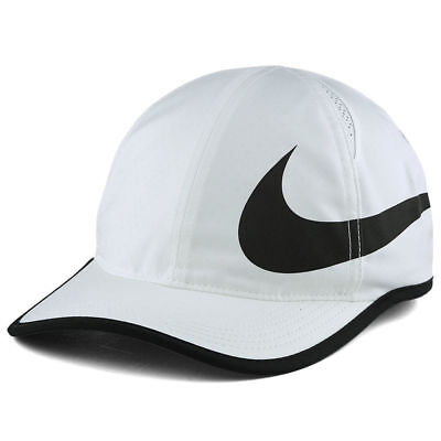 197852b04b30d Nike Featherlight Swoosh Cap Hat Adjustable Unisex White   Black DriFit  Aerobill • 18.99