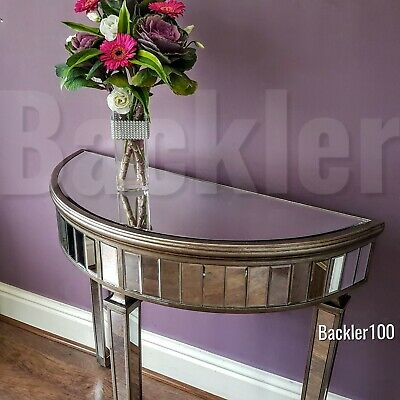 £199.99 • Buy Venetian Style Mirrored Glass Table Half Moon Hall Console Aged Champagne