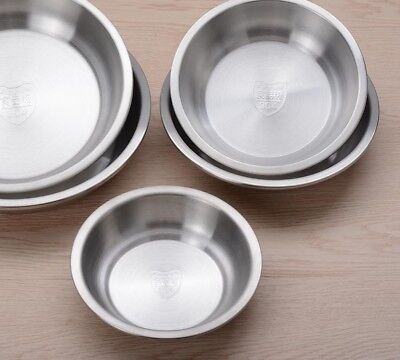 £17.20 • Buy Stainless Steel Dinnerware Plates Deep Fruits Meal Dish Tableware Round Ware New