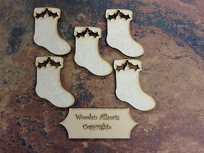 10x MDF Wooden Christmas Stocking Craft Shapes, Embellishments, 3mm Thick • 2.49£