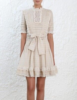$268 • Buy NWT Authentic Zimmermann Resort Swim 2018 Natural Helm Dot Frill Dress