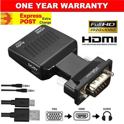 AU10.15 • Buy VGA To HDMI Male To Female Video Adapter Cable Converter With Audio HD 1080P