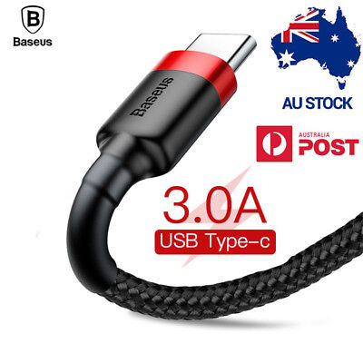 AU7.49 • Buy USB Type C Cable 3.1 Data Cable 3A Fast Charge Genuine BASEUS USB TYPE-C CABLE