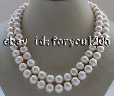 $139.99 • Buy Double 18-19  Natural 11mm White Round Pearl Necklace Mabe Pearl Clasp #f2673!