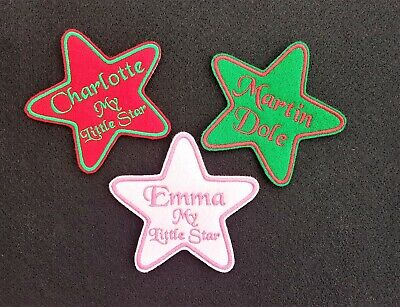 Personalised Embroidered Star Name Patch Badge Iron On Or Sew • 3.85£