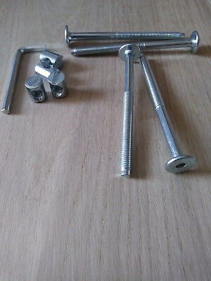KIT Of 4 Screw & 4 Nut For Beds,Cots&Furniture.M6 X Assorted Length+Allen Key.ZP • 3.50£