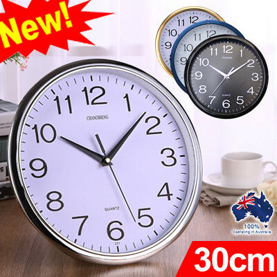 AU13.83 • Buy Wall Clock Quartz Round Wall Clock Silent Non Ticking Battery Operated 12 Inch