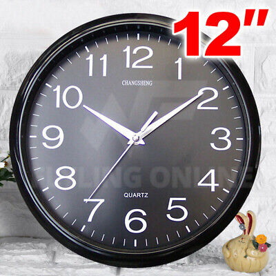 AU13.85 • Buy Silent Round Wall Mountable 30cm Quartz Analogue Black Clock Glass Cover
