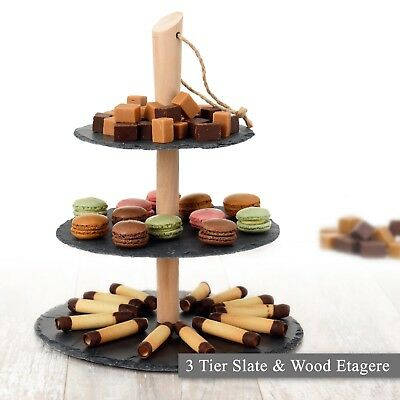 £14.99 • Buy 3 Layer Natural Slate Food Stand Tier Round Serving Display Platter Cakes Board