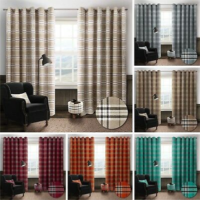 £59.95 • Buy Thermal Tartan Check Ring Top Eyelet Curtains Ready Made Lined Width 66  / 90