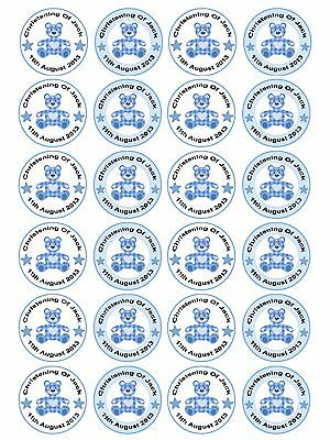 £3.90 • Buy 24 X Personalised Christening Baptism Baby Shower Boy Teddy Cake Cupcake Toppers