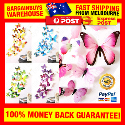 AU7.34 • Buy 12pcs 3D Butterfly Wall Sticker Decals Butterflies Stickers