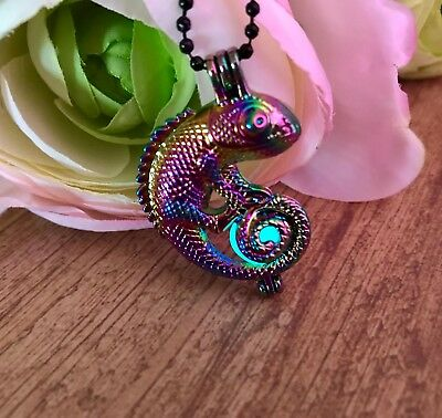 $19.50 • Buy Chrome Rainbow Color Chameleon Cage Pendant With Aqua Glow In The Dark Orb Cage